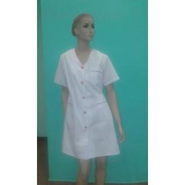 Fartuch lekarski damski Kolendra (rękaw krótki, guziki) STRECZ