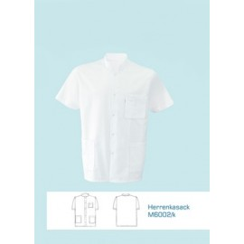 Bluza lekarska męska M6002 (rękaw króki, zapięcie na napy, kolor biały)W