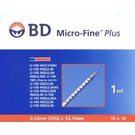 Strzykawka insulinowa j.u. BD Micro Fine Plus 1 ml 29 G (0,33 x 12,7 mm z igłą) - opakowanie 10 szt.