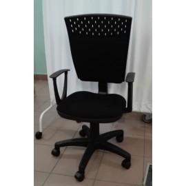 Krzesło biurowe STAŚ (stelaż czarny)- tapicerka tkanina czarna - PROMOCJA