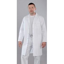 Fartuch lekarski męski M5001 (rękaw długi, zapięcie na napy, kolor biały)W