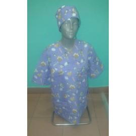 Bluza chirurgiczna Bluszcz (rękaw krótki, wzór pediatryczny) STRECZ