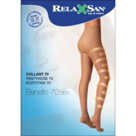 Rajstopy przeciwżylakowe uciskowe (ucisk 12-17 mmHg) Relaxsan  - rozmiar 1, grubość 70 den, ciemny beż
