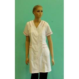 Fartuch lekarski damski Paprotka (rękaw krótki, kolor biały z kolorowymi wstawkami)